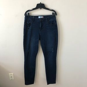 CAbi Dark Curvy Skinny Distressed Jean- Size 10